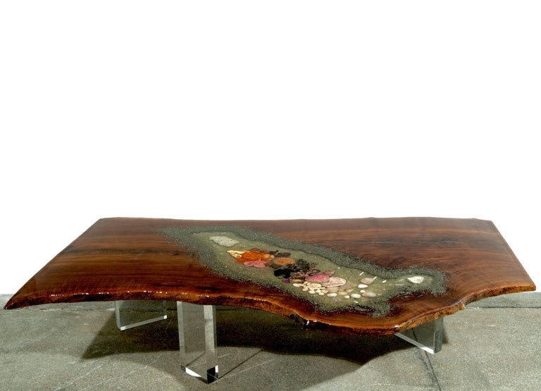 Coffee Table, Center Table or Desk in Claro Walnut with Crystals and Gemstones In New Condition For Sale In Jersey City, NJ