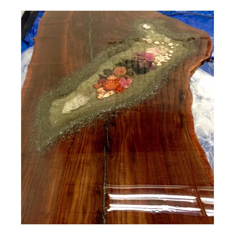 Contemporary Coffee Table, Center Table or Desk in Claro Walnut with Crystals and Gemstones For Sale