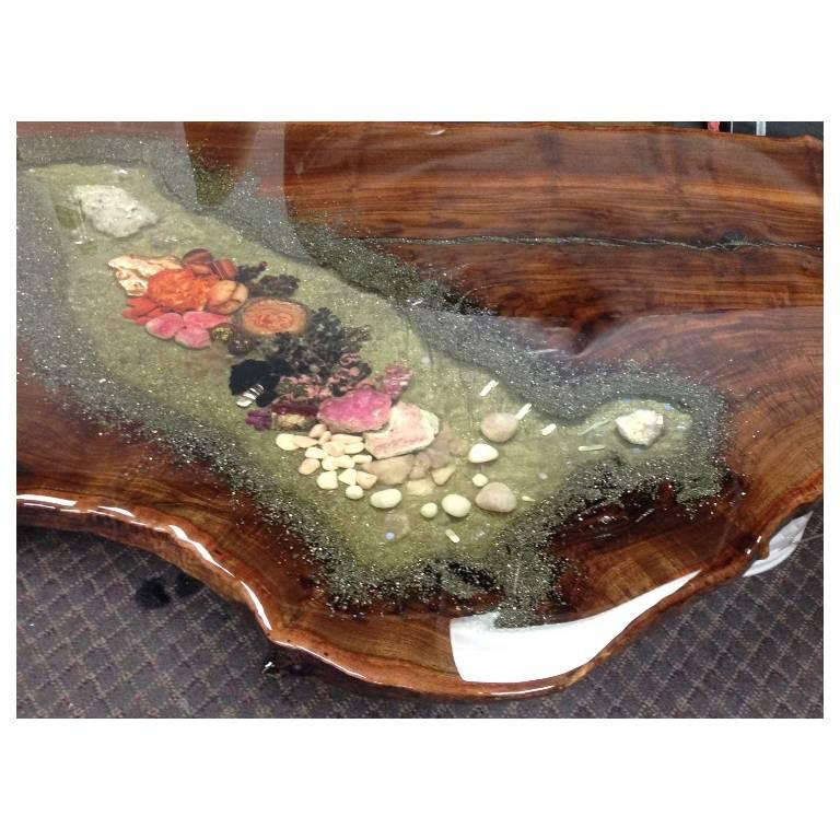 Multi-gemstone Coffee Table, Center Table or Desk in Claro Walnut with Crystals and Gemstones For Sale