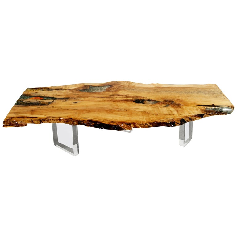 Coffee Table, Desk or Center Table in Hard Maple with Crystals & Gemstones