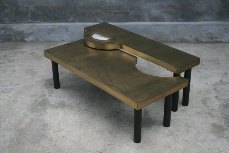 Coffee Table, Patinated Acid Etched Brass and Agate Slice Organic For Sale 7