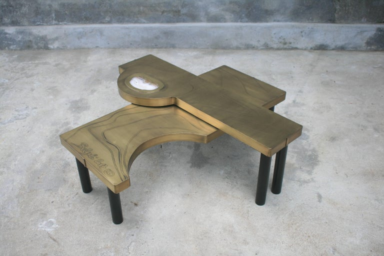 Coffee Table, Patinated Acid Etched Brass and Agate Slice Organic For Sale 9