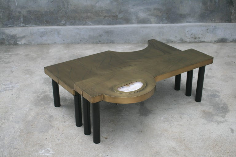 Coffee Table, Patinated Acid Etched Brass and Agate Slice Organic For Sale 11