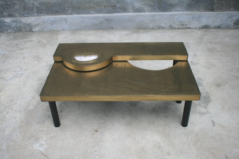 Contemporary Coffee Table, Patinated Acid Etched Brass and Agate Slice Organic For Sale