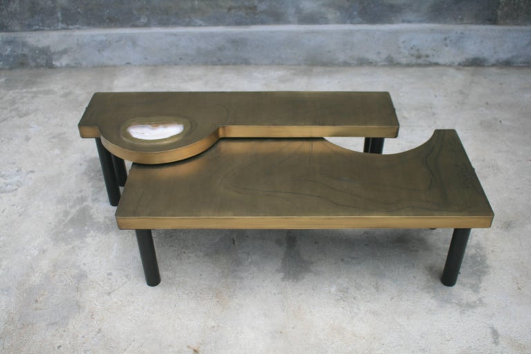 Coffee Table, Patinated Acid Etched Brass and Agate Slice Organic For Sale 4