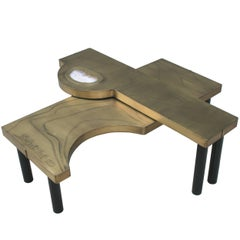 Coffee Table, Patinated Acid Etched Brass and Agate Slice Organic