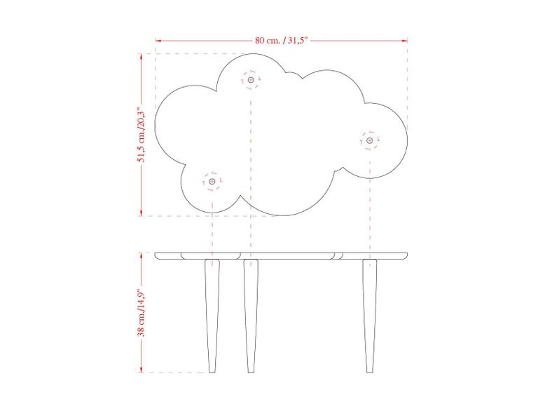 Coffee Tables Pink Scagliola Artistic Top Cloud Shape White Wooden Legs Handmade For Sale 1