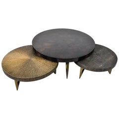 Coffee Tables Reef in Shell, Gilded Fiber and Genuine Shagreen by Ginger Brown