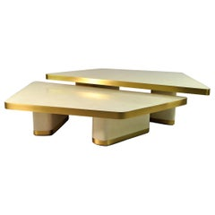 Coffee Tables VELA in Rock Crystal and Brass by Ginger Brown