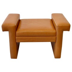 Coffee Tone Post Modern Leather Bench