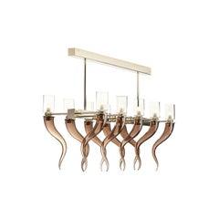 Coffee Venetian Glass Rectangular Chandelier