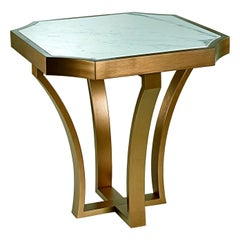 Coffee with Table Metal Frame Distressed Paint Finish Top Calacatta Gold Marble