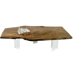 Coffee, Cocktail, or Center Table in English Elm w/ Quartz Crystal & Lucite Base