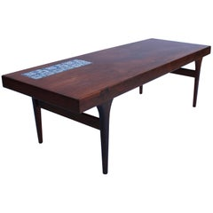 Coffeetable in Rosewood with Royal Copenhagen Tiles by Johannes Andersen, 1960s