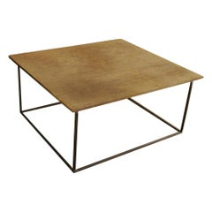 Coffeetable with an Antique Teak Top and Solid Steel Frame