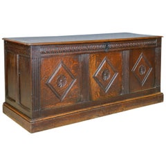Coffer, English, Oak, Joined Chest, Three Panel Trunk, circa 1700 and Later