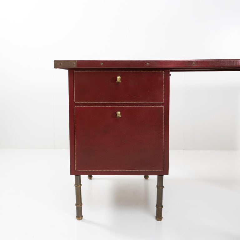 Metal Coffered Desk with Its Matching Chair in the Shape of a Horse Saddle For Sale
