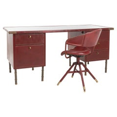 Coffered Desk with Its Matching Chair in the Shape of a Horse Saddle