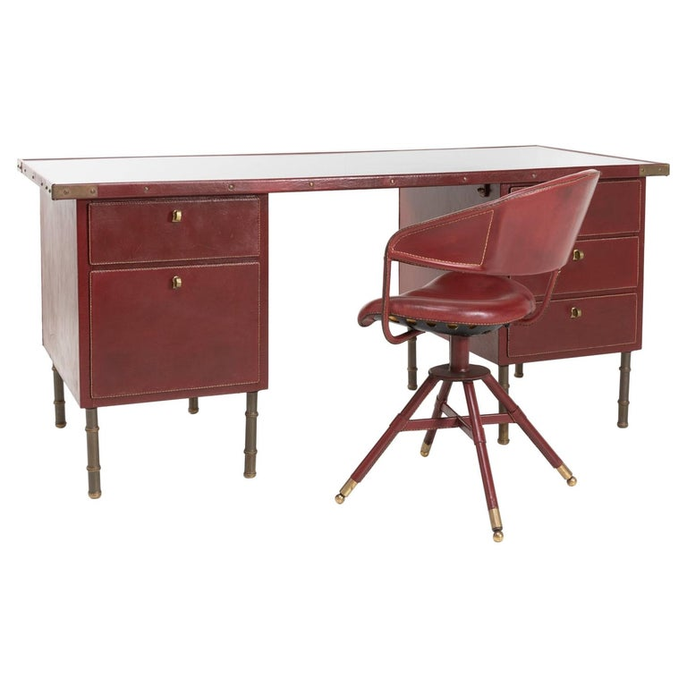 Coffered Desk with Its Matching Chair in the Shape of a Horse Saddle For Sale