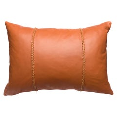 Cognac Brown Leather Pillow with Leather Cross Stitch Lumbar Cushion