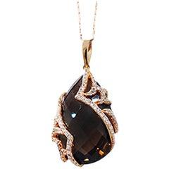 Cognac Brown Topaz and Diamond Pendant 18 Karat Pink Gold Necklace