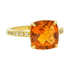 Cognac Citrine Diamond 18 Karat Gold Gemstone Statement Ring
