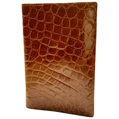 Cognac Colored Mid Centurty Brown Crocodile Wallet Never Used