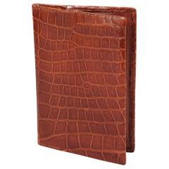 Cognac Colored Mid Century Brown Crocodile Wallet Never Used
