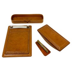 Cognac Colored Stitched Leather Desk Set