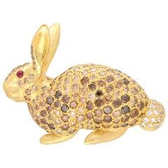 Cognac Diamond and Ruby Rabbit Pin Brooch Set in 18 Karat Yellow Gold