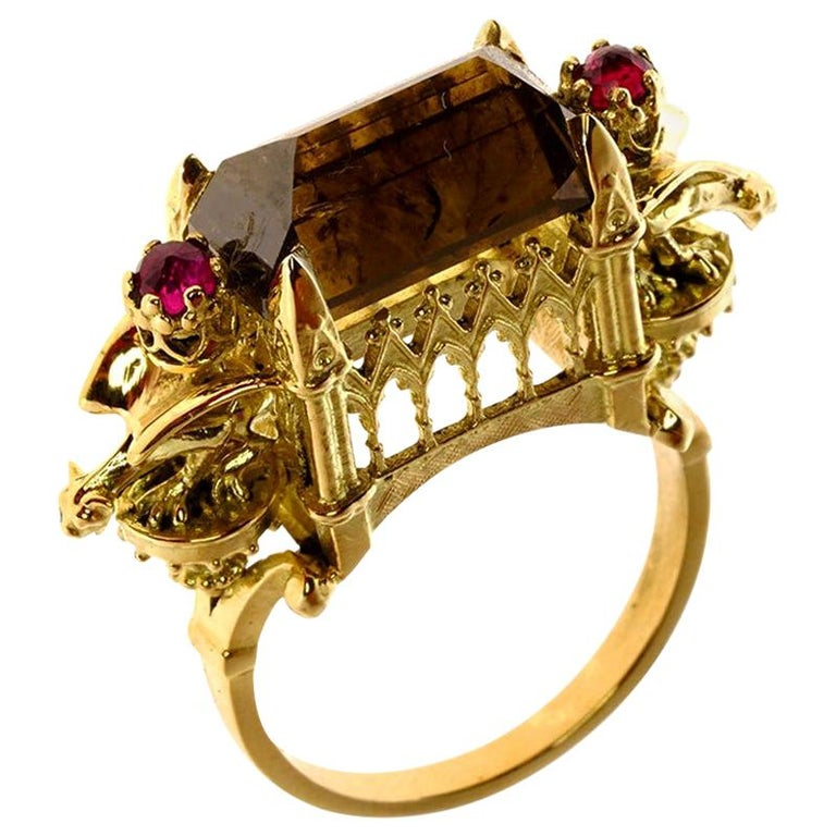 Cognac Diamond and Ruby Ritual Cathedral Ring For Sale