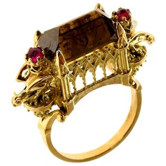 Cognac Diamond and Ruby Ritual Cathedral Ring