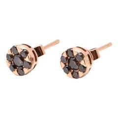 Cognac Diamond Daisy Style Stud Earrings in 18 Carat Rose Gold