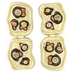 Cognac Diamond Enamel 18 Karat Yellow Gold Animal Print Earrings