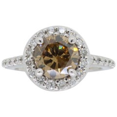 Cognac Diamond Halo Engagement Ring