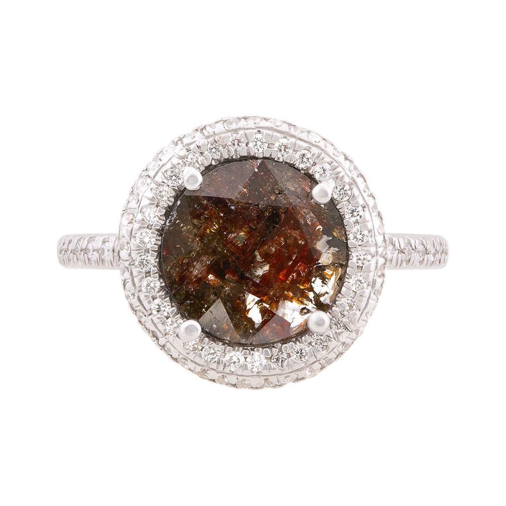 Cognac Diamond Slice Double Halo Ring in 18k Yellow Gold
