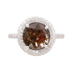 Cognac Diamond Slice Double Halo Ring in 18k Yellow Gold