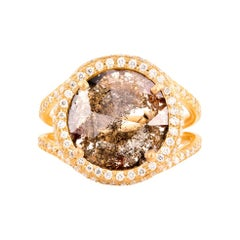 Cognac Diamond Slice Ring in Matte 18k Gold with Diamond Pave Halo and Band