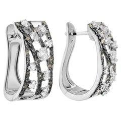 Cognac Diamond White Gold Lever Back Earrings for Her Perfect Christmas Gift