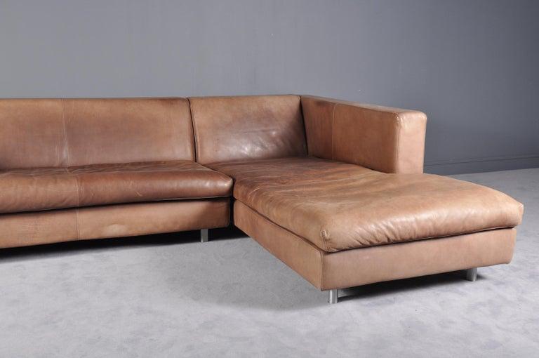 Cognac High Quality Leather Corner Sofa Chaise by Molinari ...