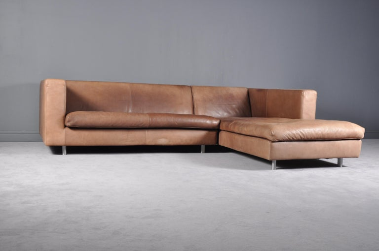 Cognac High Quality Leather Corner Sofa Chaise by Molinari, Italy ...