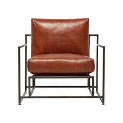 Cognac Leather and Blackened Steel Armchair