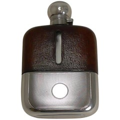Cognac Leather and Engine Turned Sterling Silver Hip / Liquor Flask