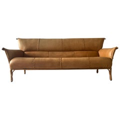 Cognac Leather and Palmwood Sofa by Pacific Green, 1990s