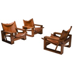 Cognac Leather and Pine Easy Chair by Ate Van Apeldoorn