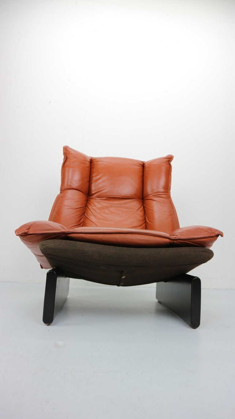 Cognac Leather and Wood Lounge Chair, Dutch Modern Design ...
