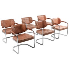 Cognac Leather Armchairs Set of 6 by Knoll