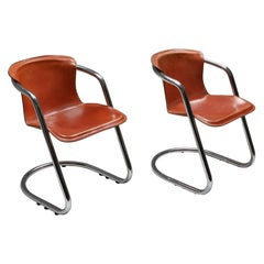 Cognac Leather Armchairs Willy Rizzo