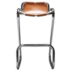Cognac Leather Bar Stools Style 'Les Arcs' Charlotte Perriand