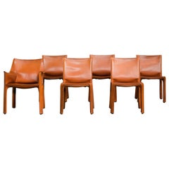 "Cognac Leather ""Cab"" Chairs by Mario Bellini, 1980s, Set of 5"